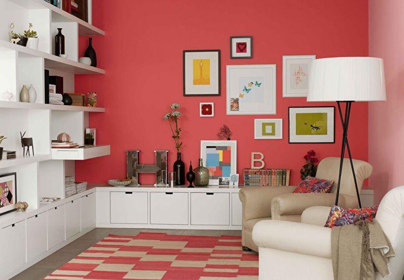 Сочетание цветов в интерьере гостиной - красный с белым
