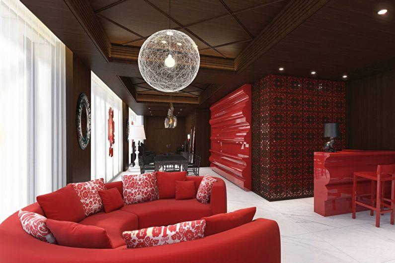 Сочетание цветов в интерьере гостиной - красный с коричневым и белым