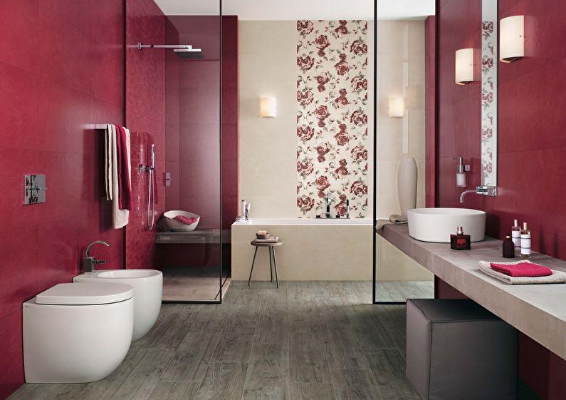 Сочетание цветов в интерьере ванной комнаты - красный с бежевым, серым и белым