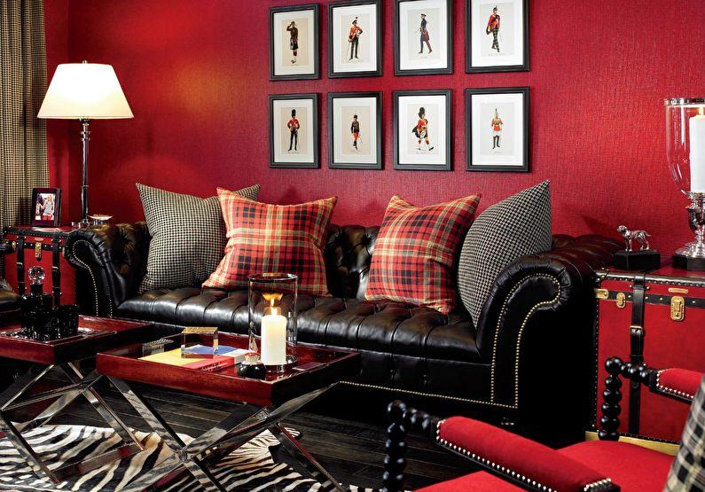 Сочетание цветов в интерьере гостиной - красный с черным