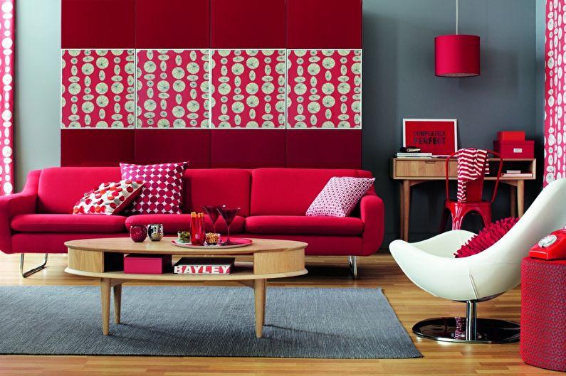 Сочетание цветов в интерьере гостиной - красный с серым
