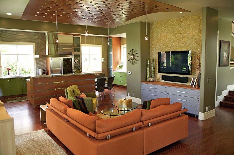 Сочетание цветов в интерьере гостиной - оранжевый с зеленым и коричневым