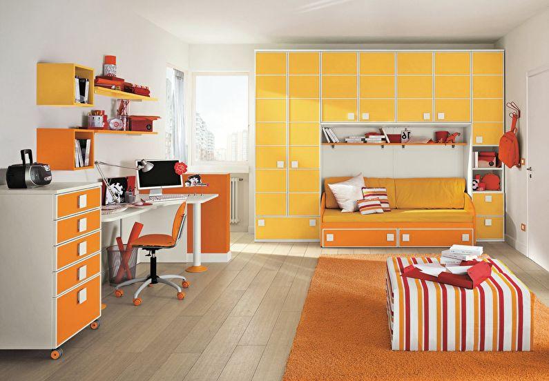Сочетание цветов в интерьере детской комнаты - оранжевый с белым и желтым