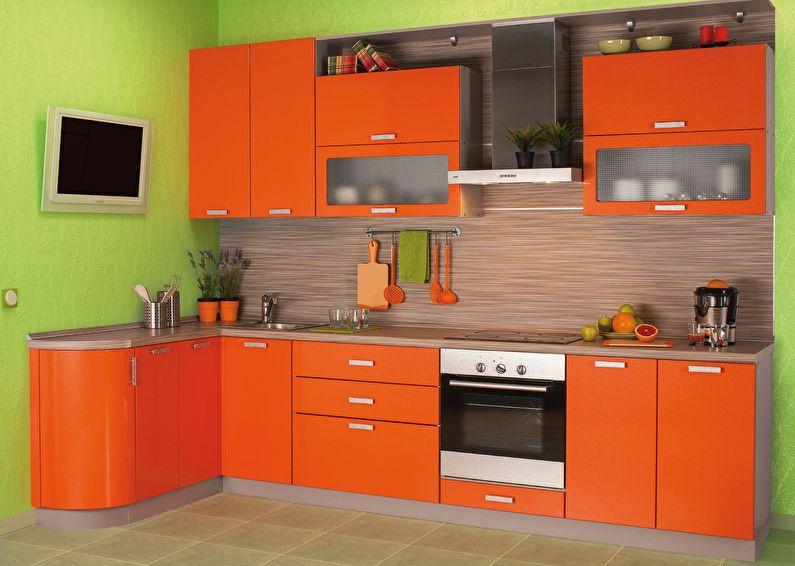 Сочетание цветов в интерьере кухни - оранжевый с зеленым