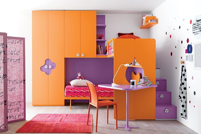 Сочетание цветов в интерьере детской комнаты - оранжевый с фиолетовым и белым