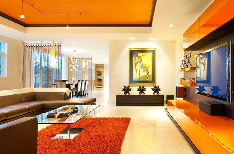 Сочетание цветов в интерьере гостиной - оранжевый с белым и коричневым