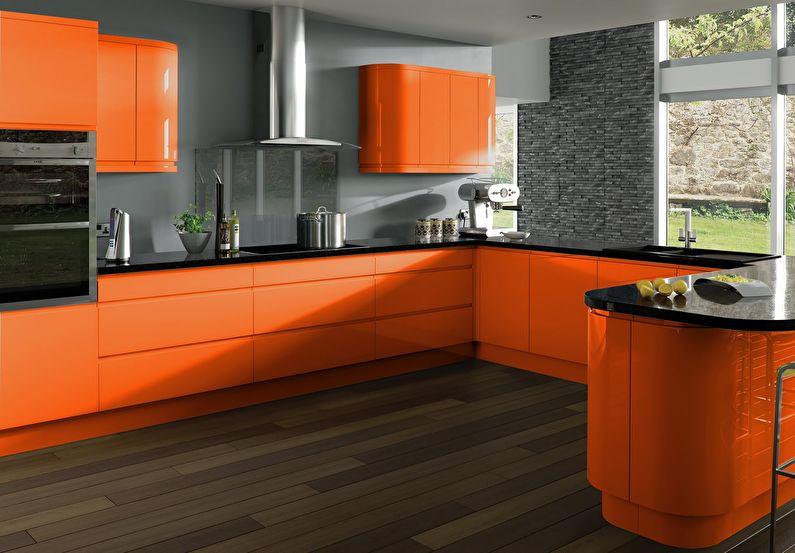 Сочетание цветов в интерьере кухни - оранжевый с серым