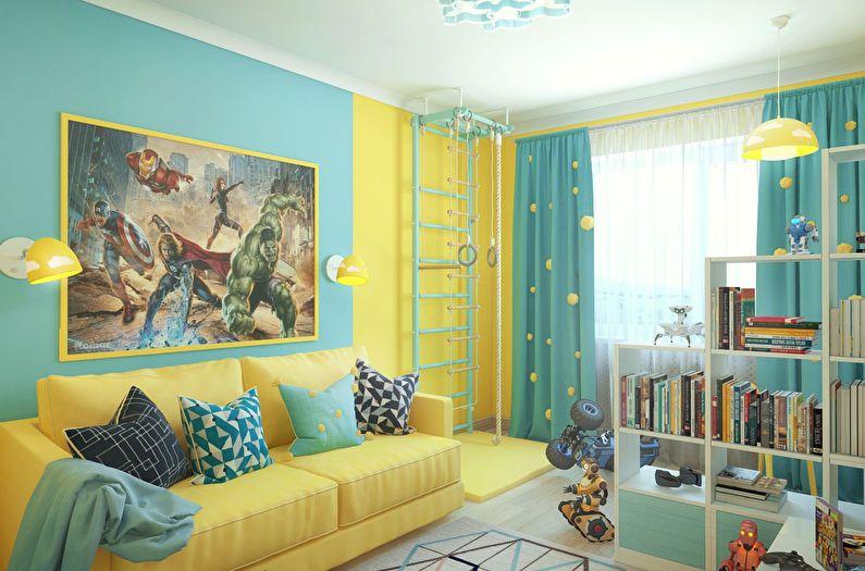 Сочетание цветов в интерьере детской комнаты - желтый с бирюзовым