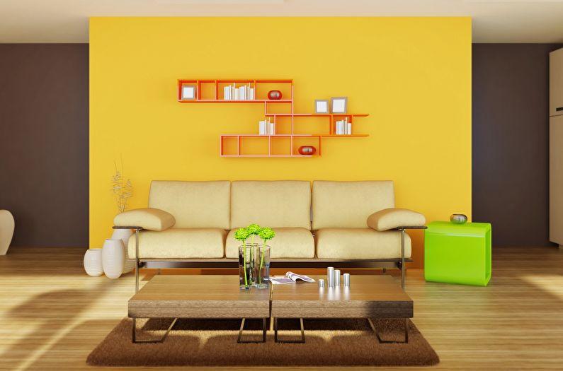 Сочетание цветов в интерьере гостиной - желтый с коричневым