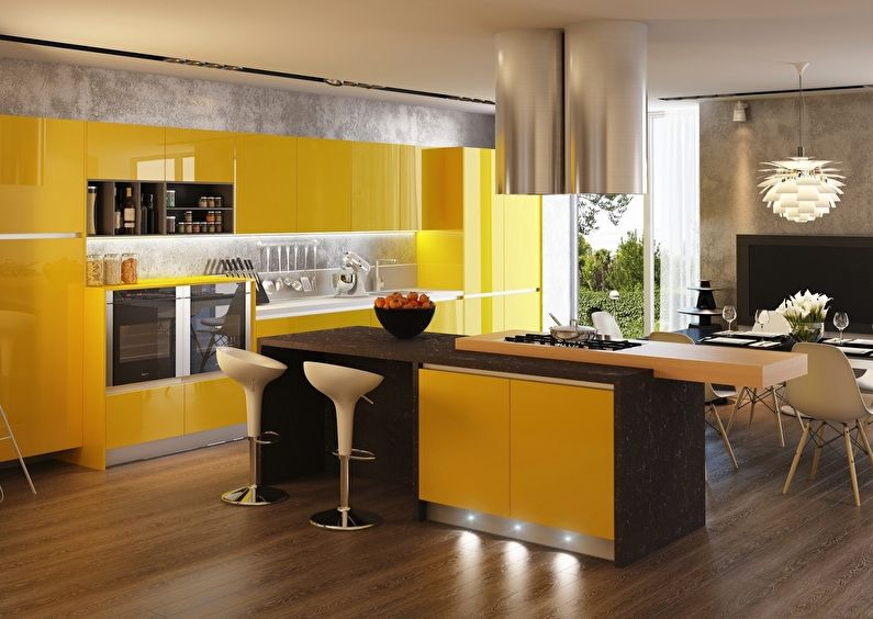 Сочетание цветов в интерьере кухни - желтый с коричневым, серым и белым