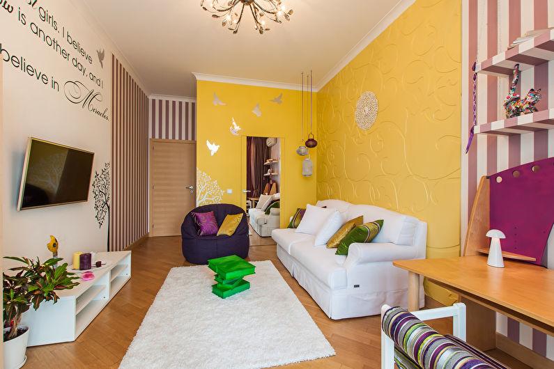 Сочетание цветов в интерьере гостиной - желтый с белым