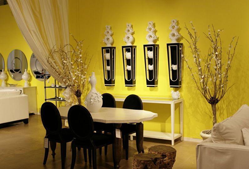 Сочетание цветов в интерьере - желтый с черным и белым