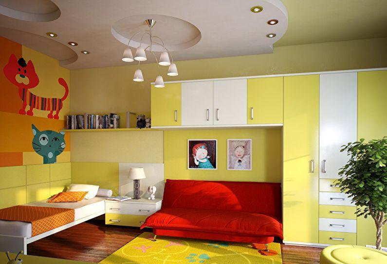 Сочетание цветов в интерьере детской комнаты - желтый с красным и оранжевым