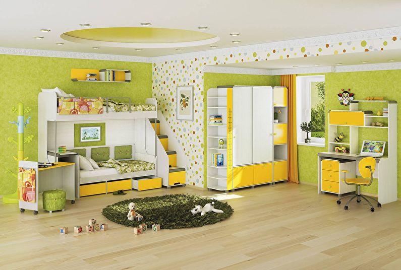 Сочетание цветов в интерьере детской комнаты - зеленый с желтым и белым