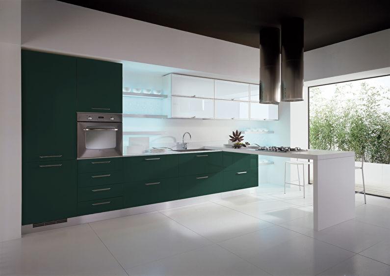 Сочетание цветов в интерьере кухни - зеленый с белым и черным