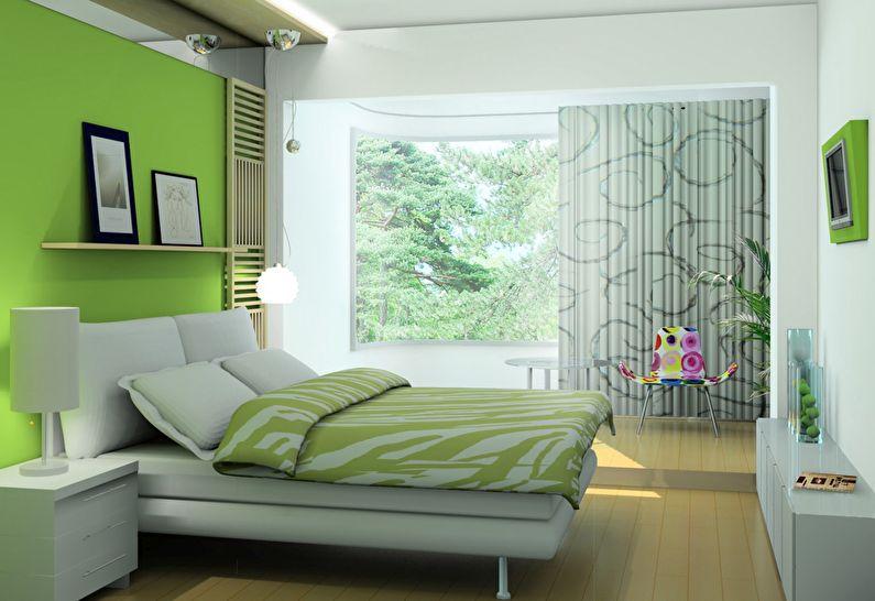 Сочетание цветов в интерьере спальни - зеленый с белым