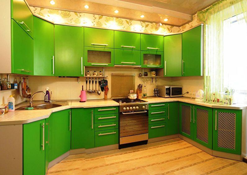 Сочетание цветов в интерьере кухни - зеленый с бежевым