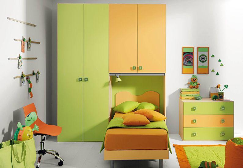 Сочетание цветов в интерьере детской комнаты - зеленый с оранжевым и белым