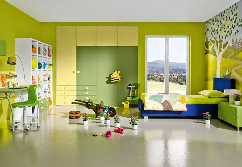 Сочетание цветов в интерьере детской комнаты - зеленый с желтым, синим и белым