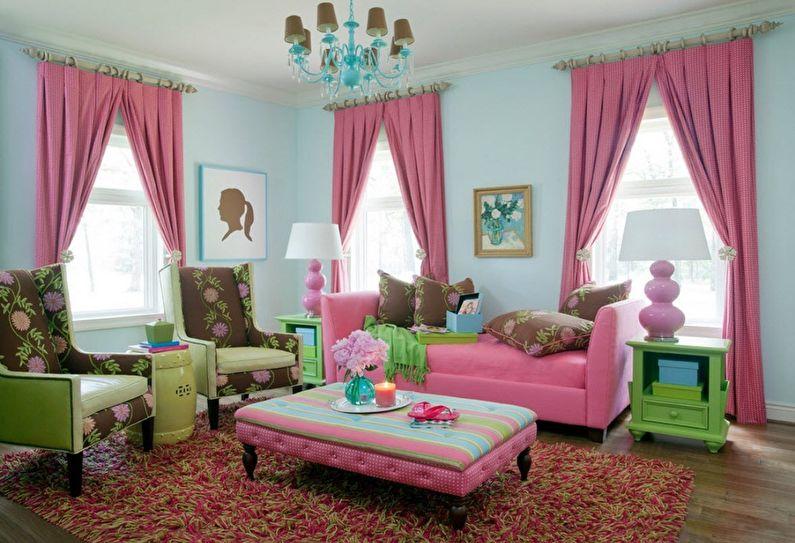 Сочетание цветов в интерьере гостиной - розовый с бирюзовым и зеленым