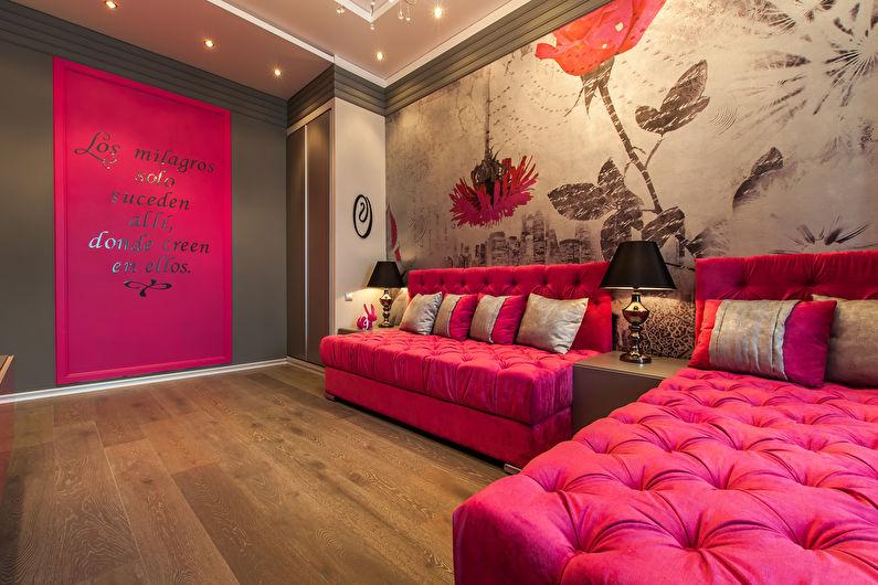 Сочетание цветов в интерьере гостиной - розовый с серым и коричневым