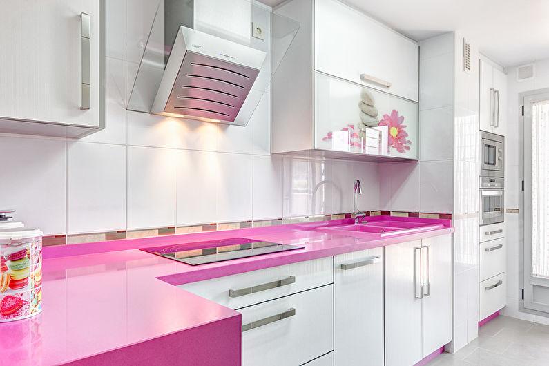 Сочетание цветов в интерьере кухни - розовый с белым