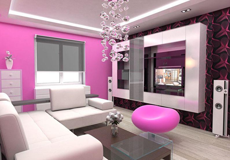 Сочетание цветов в интерьере гостиной - розовый с белым и черным