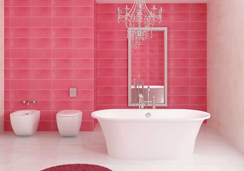 Сочетание цветов в интерьере ванной комнаты - розовый с белым