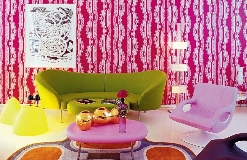Сочетание цветов в интерьере гостиной - розовый с белым и зеленым