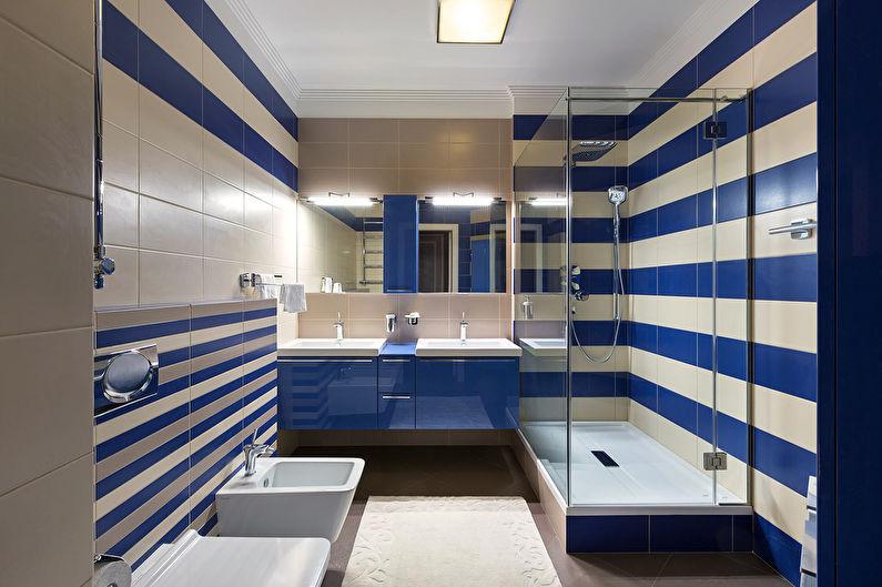 Сочетание цветов в интерьере ванной комнаты - синий с белым