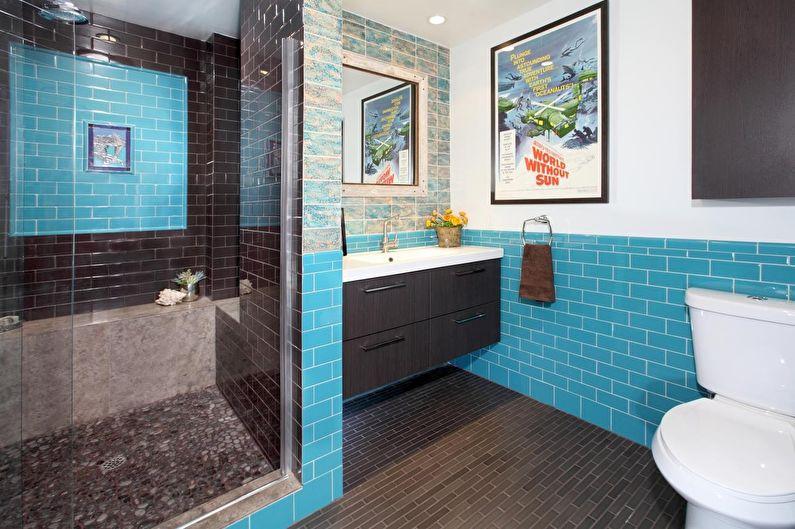 Сочетание цветов в интерьере ванной комнаты - синий с коричневым и белым
