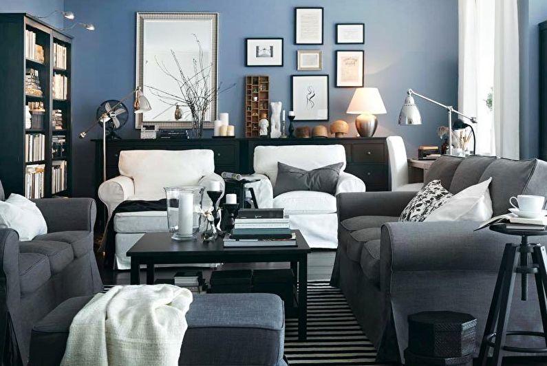 Сочетание цветов в интерьере гостиной - синий с серым