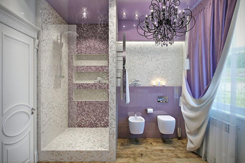 Сочетание цветов в интерьере ванной комнаты - фиолетовый с бежевым и белым