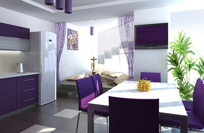 Сочетание цветов в интерьере кухни - фиолетовый с белым