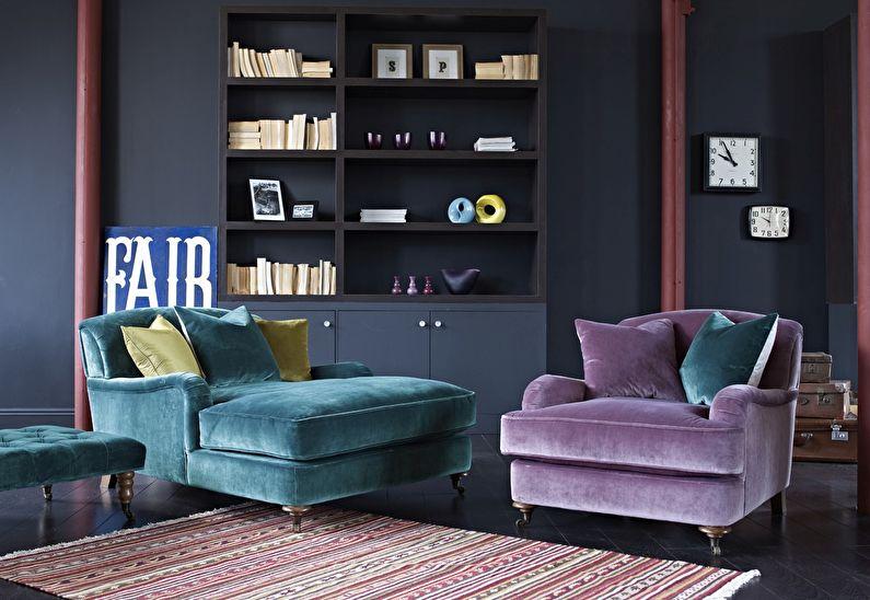 Сочетание цветов в интерьере гостиной - фиолетовый с зеленым и черным