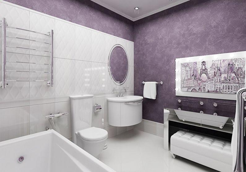 Сочетание цветов в интерьере ванной комнаты - фиолетовый с белым