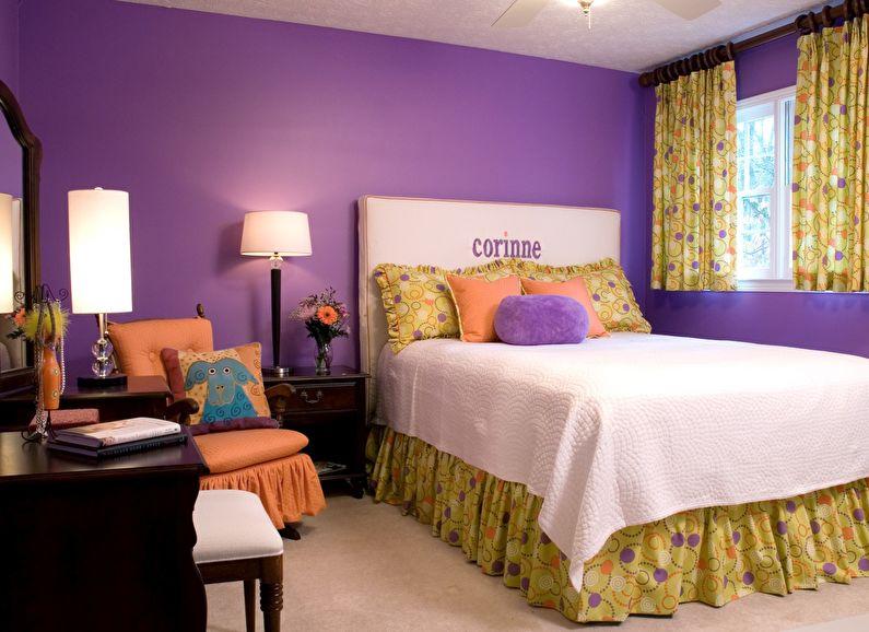 Сочетание цветов в интерьере детской спальни - фиолетовый с желтым и оранжевым