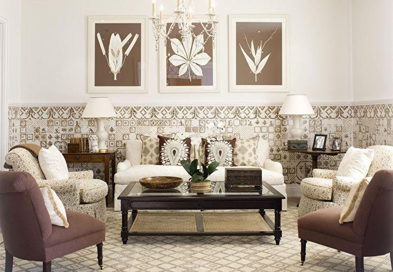 Сочетание цветов в интерьере гостиной - коричневый с белым и бежевым