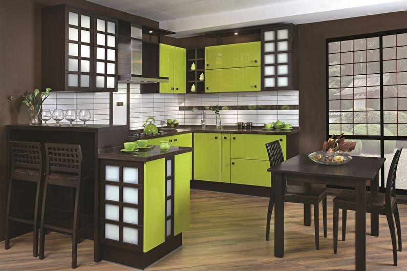 Сочетание цветов в интерьере кухни - коричневый с зеленым