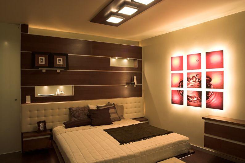 Сочетание цветов в интерьере спальни - коричневый с белым и розовым