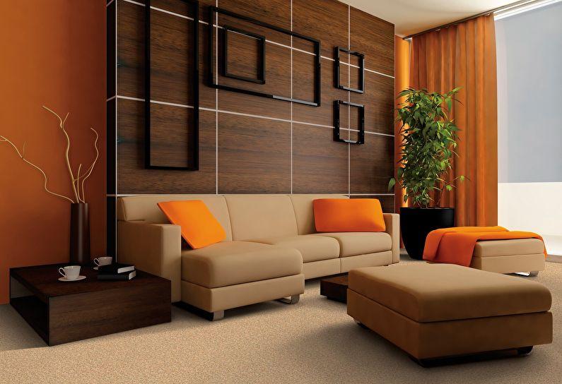 Сочетание цветов в интерьере гостиной - коричневый с оранжевым и бежевым