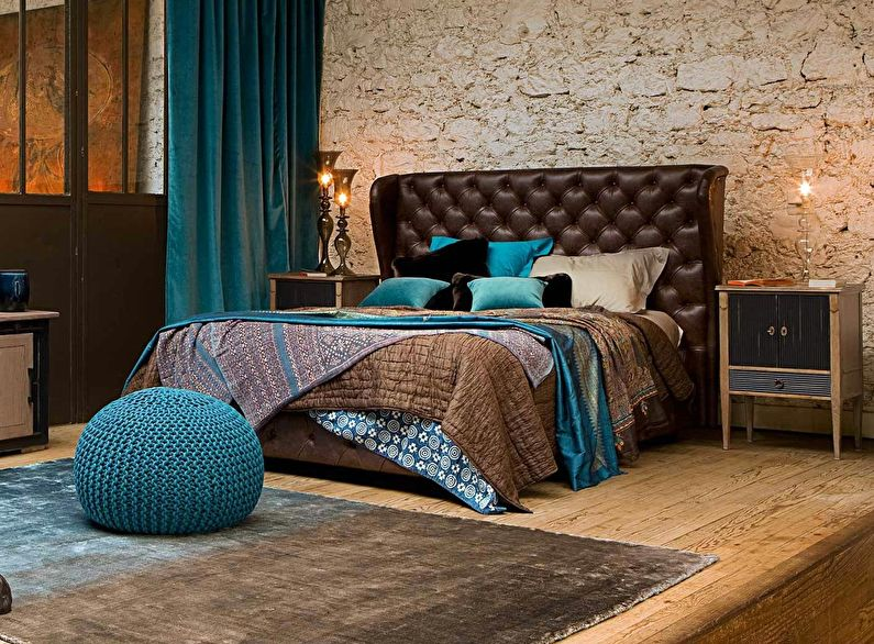 Сочетание цветов в интерьере спальни - коричневый с бирюзовым