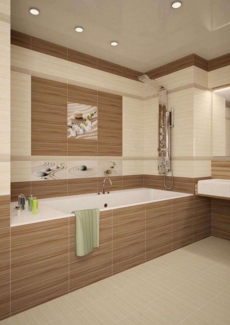 Сочетание цветов в интерьере ванной комнаты - коричневый с белым и бежевым