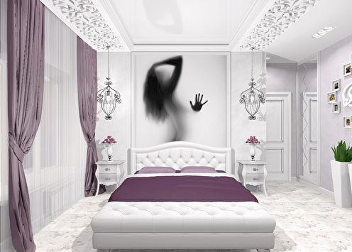 Love Story: Спальня в бело-лиловых тонах
