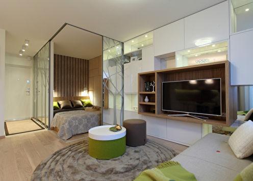 Интерьер однокомнатной квартиры 34 кв.м.