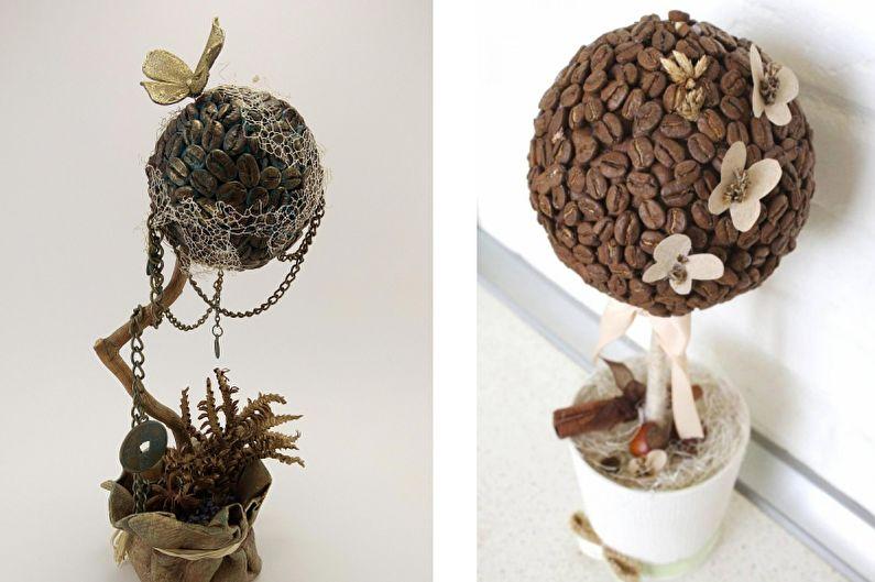 Идеи для топиария из кофе - С птичками и бабочками