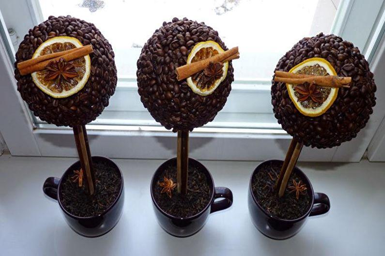 Идеи для топиария из кофе - Фруктовое деревце