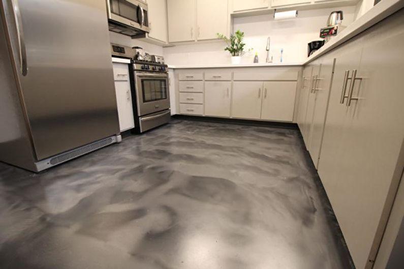 Наливные 3D-полы в кухне