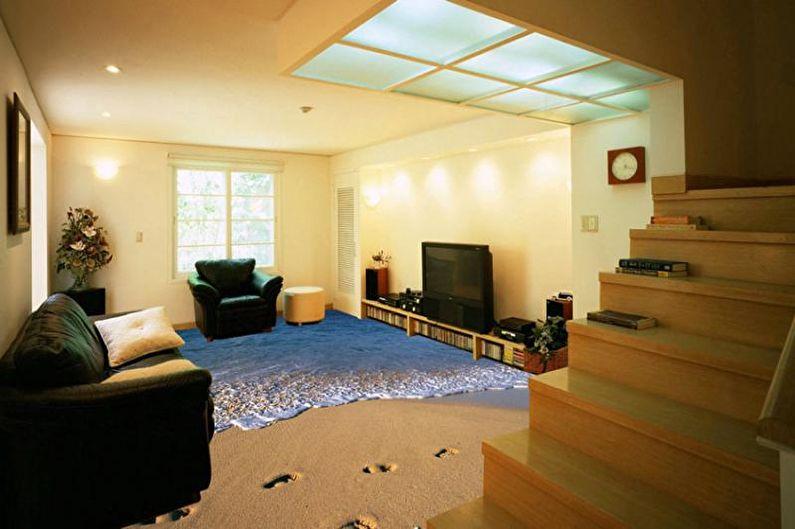 Наливные 3D-полы в гостиной