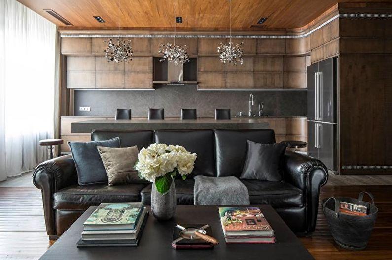 Красивые кухни фото - Кухня-гостиная с деревянной фактурой